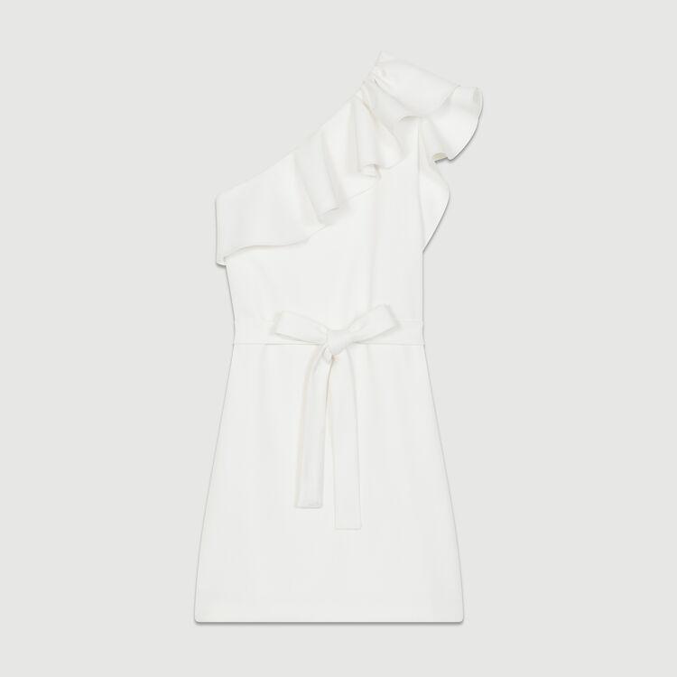 Kurzes Kleid mit Schultern : Kleider farbe Weiss