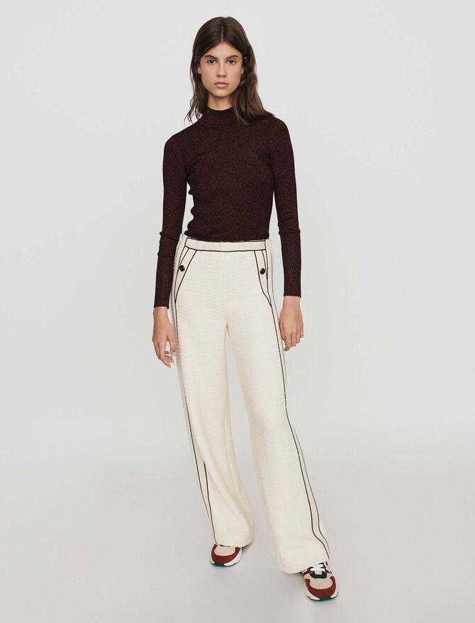 Weite Hose mit konstrastierenden Tweed -  - MAJE
