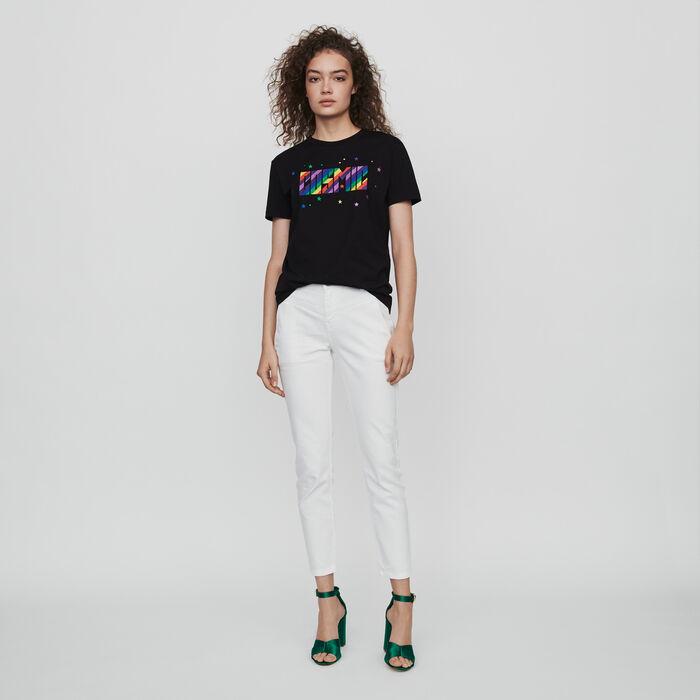 T-Shirt mit Stickereien : T-Shirts farbe Schwarz