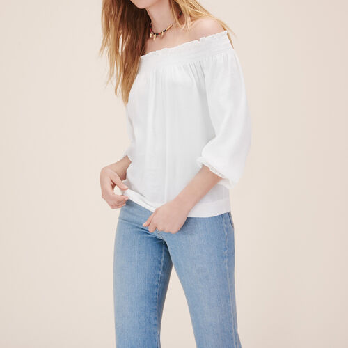 Gesmokte Bluse : Tops farbe Weiss