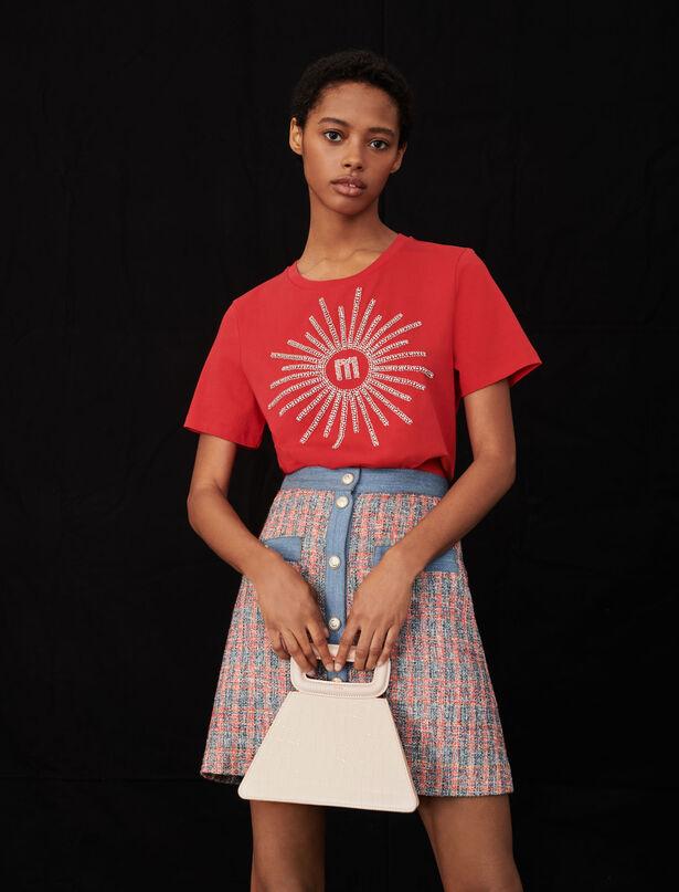 마쥬 반팔티 MAJE T-Shirt mit Strass und Perlen,Rot