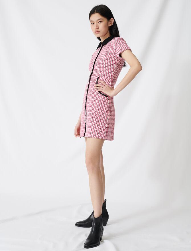 Kleid im Tweed-Stil mit Kontrastdetails -  - MAJE