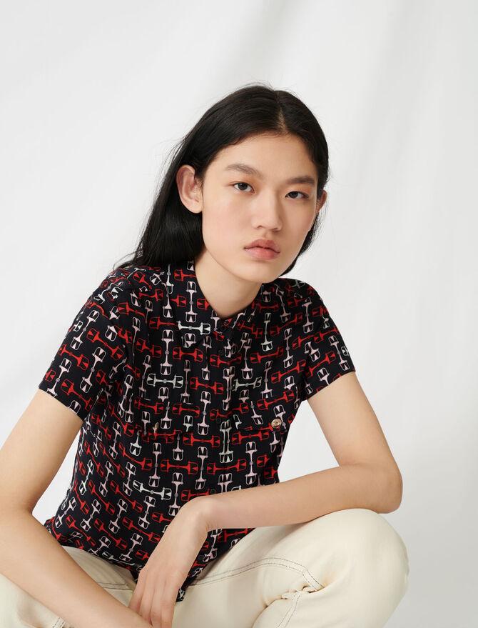 Hemdbluse mit kurzen Ärmeln und Print - Tops & Hemden - MAJE