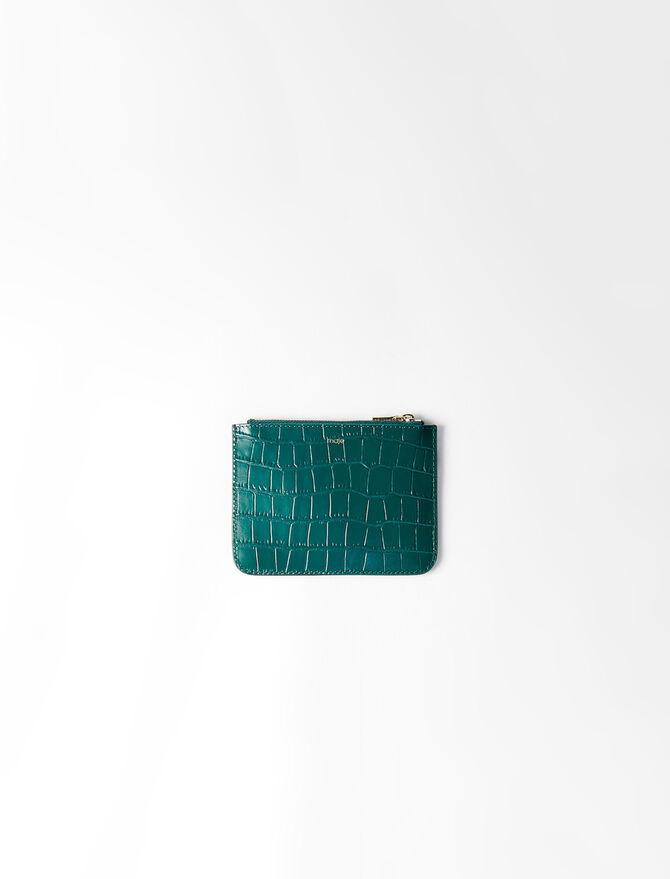 Clutch aus gekämmten Leder mit Zip - Kleinlederwaren - MAJE
