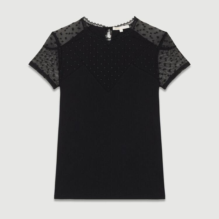 T-Shirt mit Federstickerei : T-Shirts farbe Schwarz