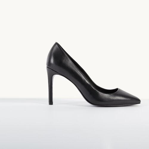 Pumps aus Leder : Schuhe farbe Schwarz