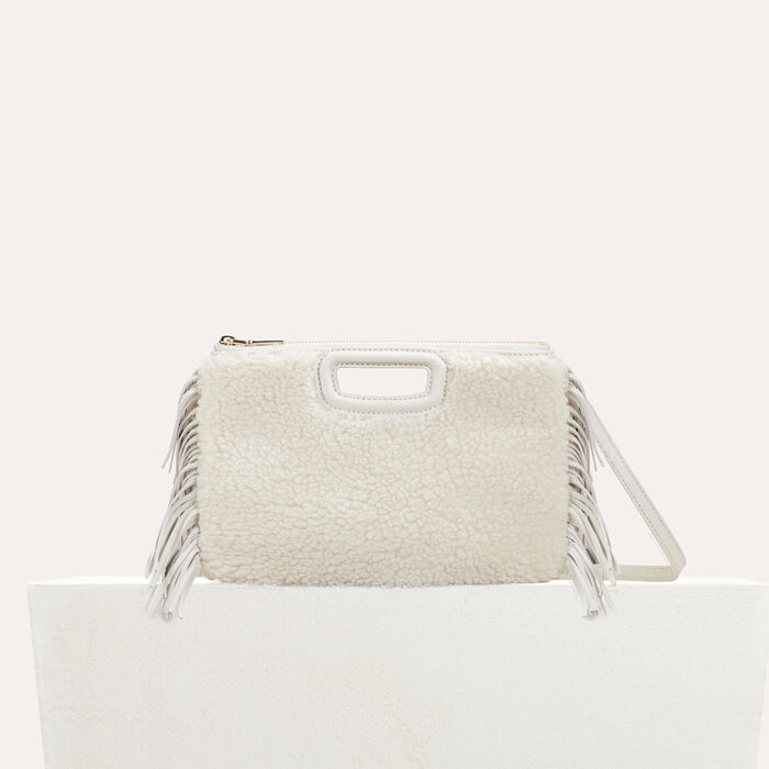 M Duo-Clutch aus edlem Shearling : Leder farbe Weiss