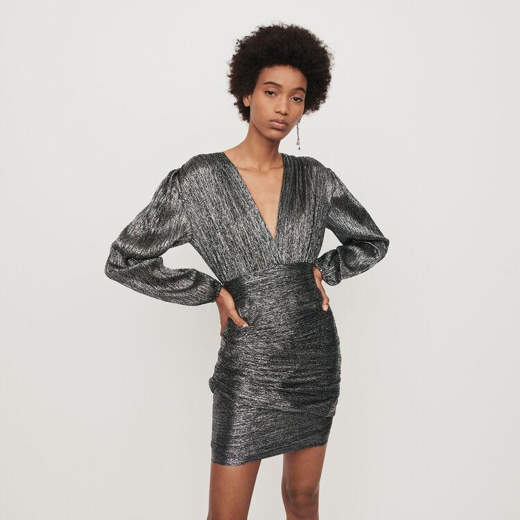 Gerafftes Kleid aus Lurex : Kleider farbe Silber