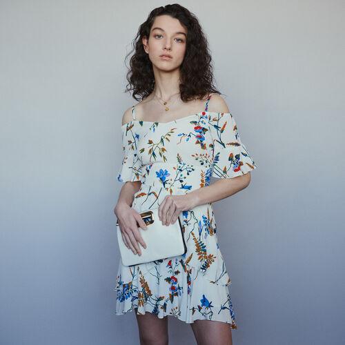 Kurzes Schulterfreies Kleid mit Print : Kleider farbe Print