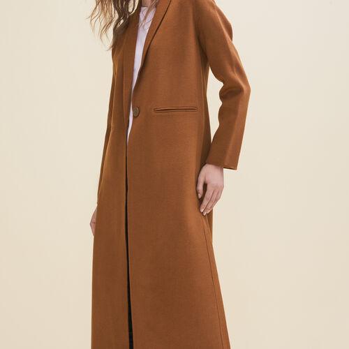 Langer Mantel aus Doubleface-Wolle : Manteaux farbe Schwarz