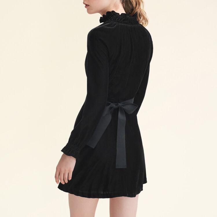 Kleid aus Velours mit Gürtel : Robes farbe Marineblau
