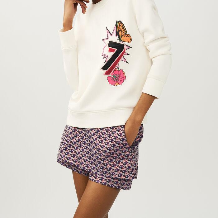 Bedrucktes Fleece-Sweatshirt : Strickwaren farbe ECRU