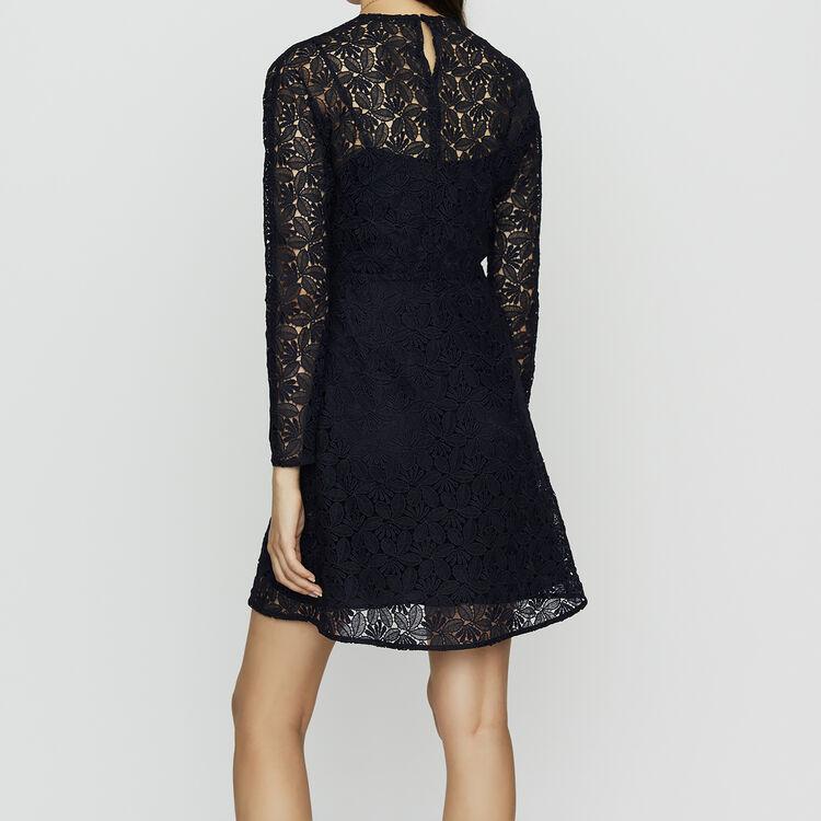 Kleid aus Spitze und Krepp : Kleider farbe Marineblau