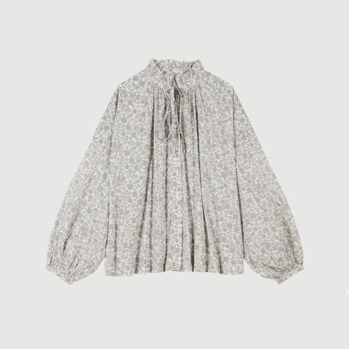 Baumwoll Bluse mit Blumen Print : Tops & Hemden farbe Grau