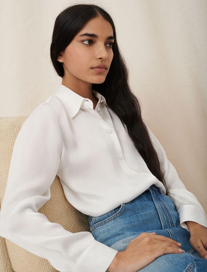 Weiße Hemdbluse aus Seide - Einzigartige Artikel - MAJE
