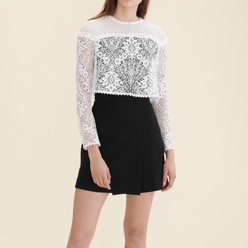Kleid mit Spitze und Plumetis : Kleider farbe  Off-White