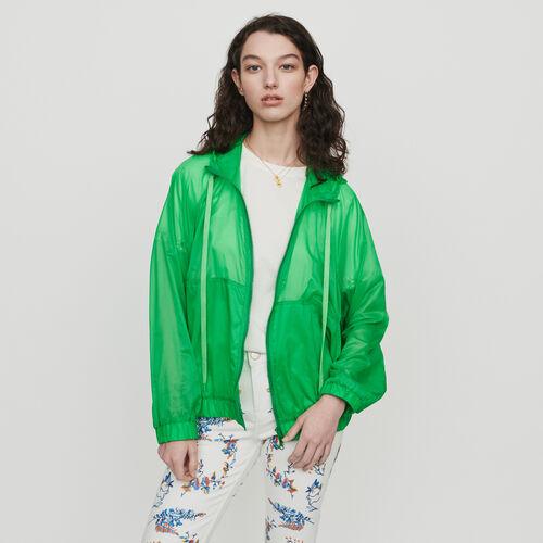 Leichte Windjacke mit Kapuze : Mäntel farbe Grün