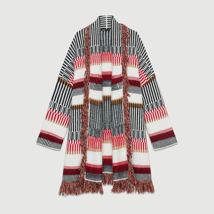 Cardigan aus Mischwolle mit Fransen : Strickwaren farbe Mehrfarbigen