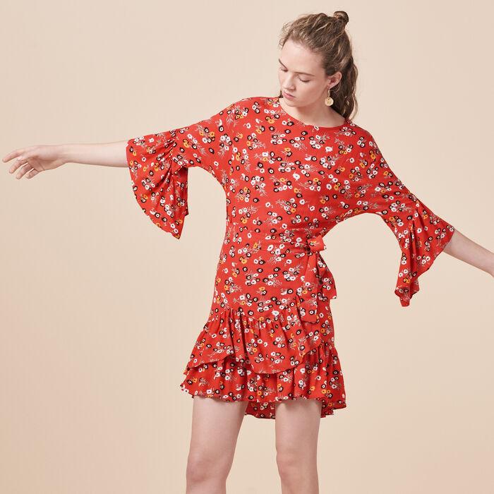 Bedrucktes Kleid mit Volants - Dresses - MAJE