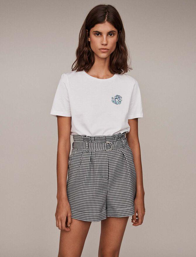 Besticktes Baumwoll T-Shirt mit Strass - T-Shirts - MAJE