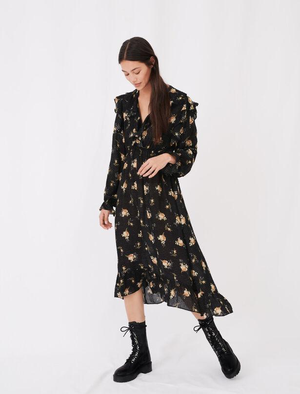 마쥬 원피스 MAJE Volantkleid aus bedrucktem Jacquard,Fleurs Grunges Noir camel