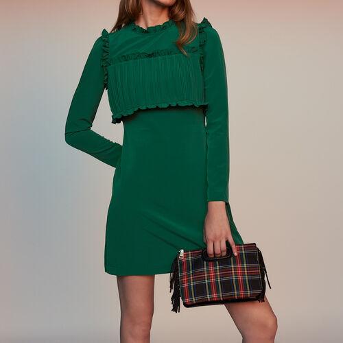 Gerades Kleid mit Plissee-Einsatz : Kleider farbe Grün