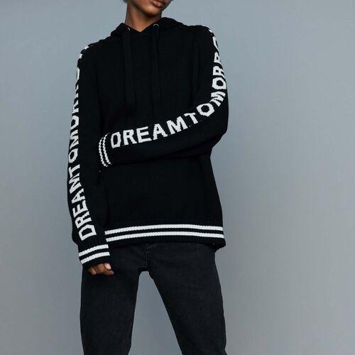 Oversize-Pullover mit Kapuze : Strickwaren farbe Schwarz