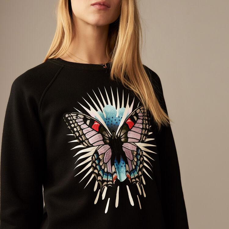 Sweatshirt mit aufgesticktem : Sweatshirts farbe Schwarz
