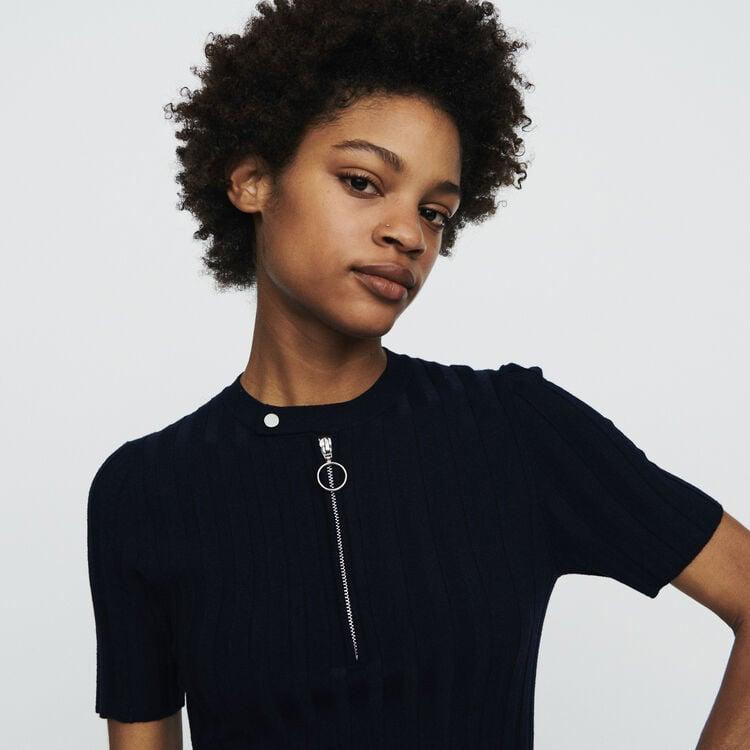 Strickpullover mit Kurzen Ärmeln : Pullover & Strickjacken farbe Marineblau