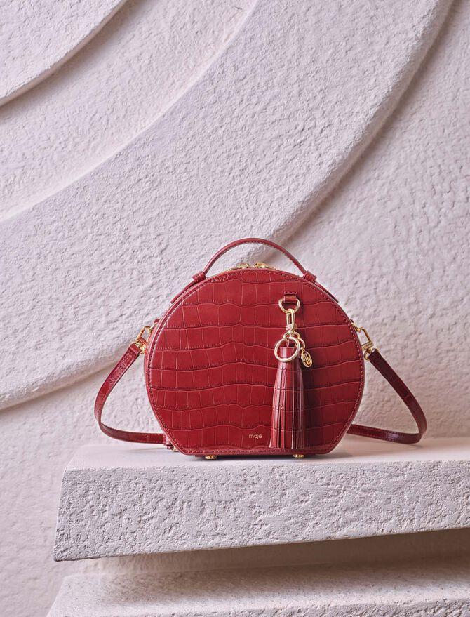 Hutschachtel-Tasche aus geprägtem Leder -  - MAJE