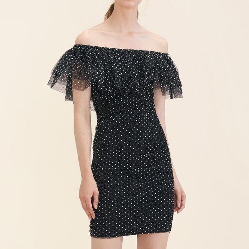 Drapiertes Kleid mit Punktmotiv : Kleider farbe Schwarz