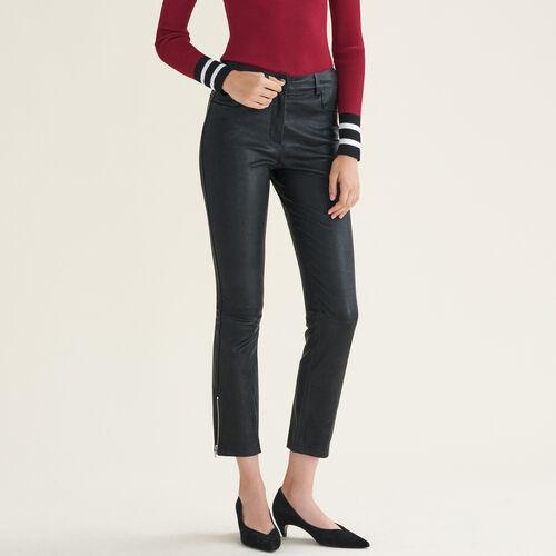 Lederhose mit Reißverschlussdetails : Hosen farbe Schwarz