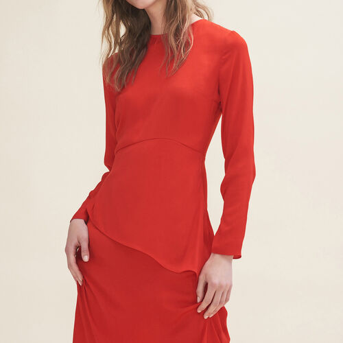 Langes asymmetrisches Kleid : Robes farbe Rot