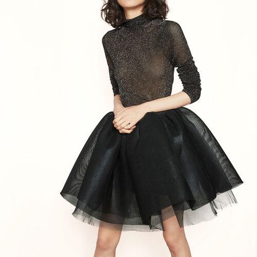 Rock aus beschichtetem Tüll : Röcke und Shorts farbe SCHWARZ