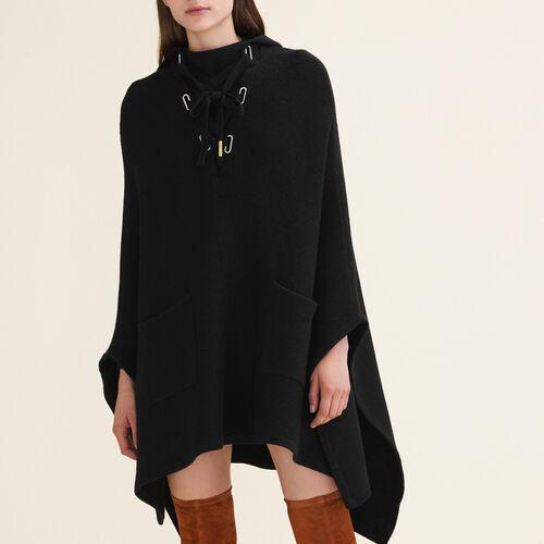 Cape-Poncho aus grob geripptem Strick : Pulls & Cardigans farbe Schwarz