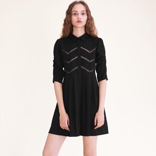 Hemdkleid mit Borten : Robes farbe Schwarz