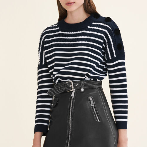 Matrosenpullover mit Veloursknöpfen : Pulls & Cardigans farbe Marineblau