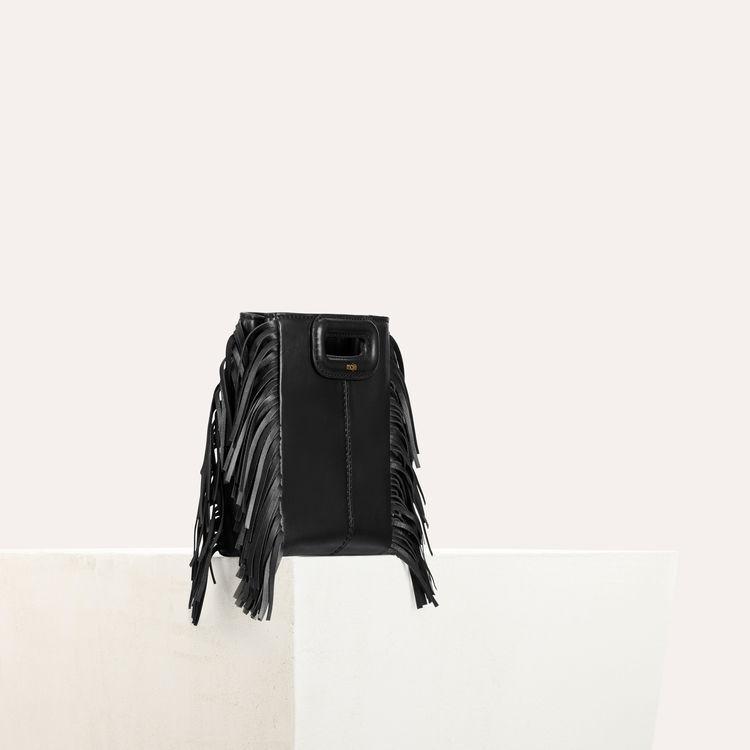 M-Minitasche mit Lederfransen : M Mini farbe Schwarz
