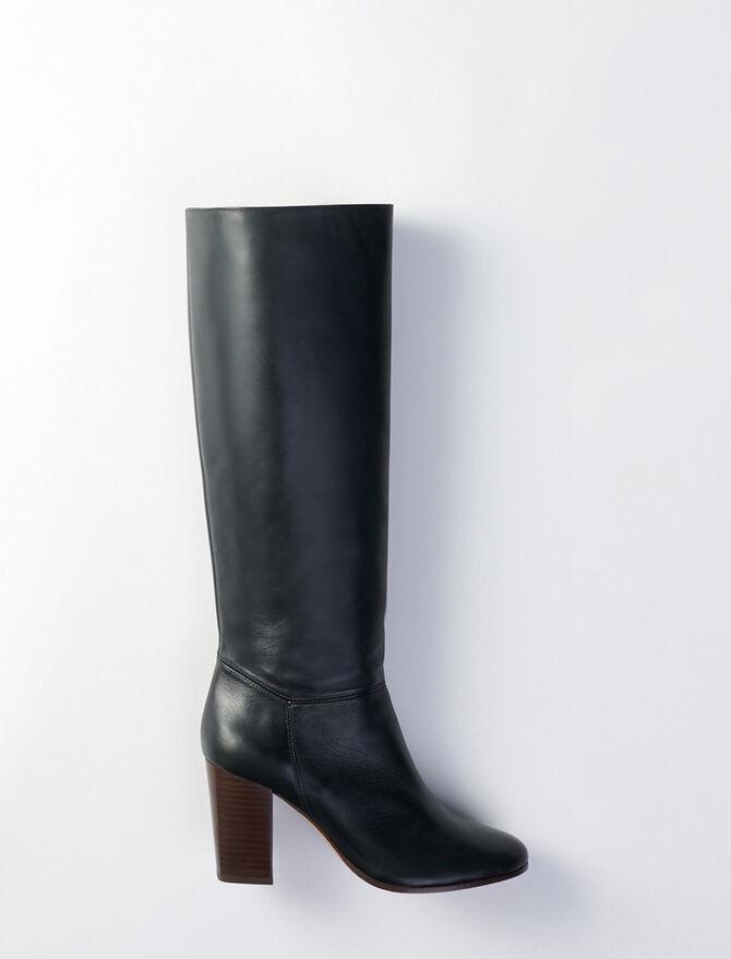 Stiefel aus Glattleder mit Absatz -  - MAJE