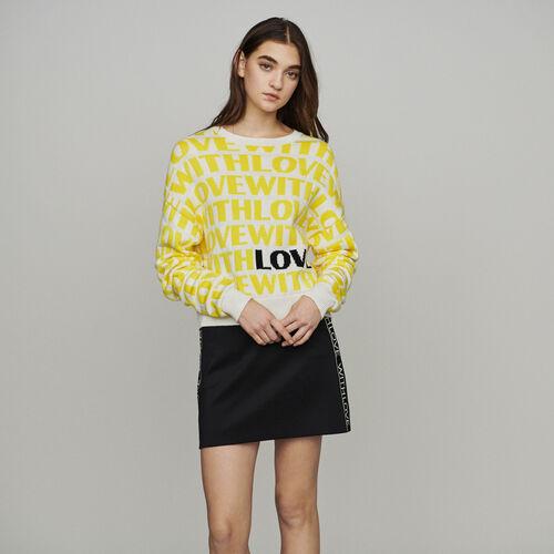 Jacquard-Pullover mit Aufschrift : Pullover & Strickjacken farbe Gelb