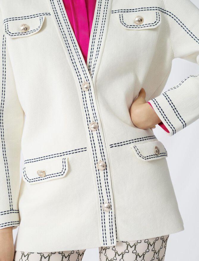 Cardigan mit kontrastierenden Ziernähten - Pullover & Strickjacken - MAJE
