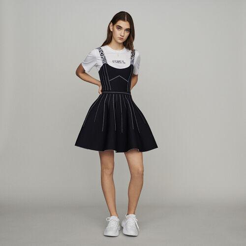 Kurzes Wende-Trägerkleid aus Strick : Kleider farbe Schwarz