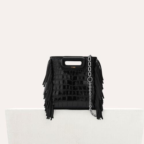 Mini-M-Tasche aus Krokodilleder : Leder farbe Schwarz