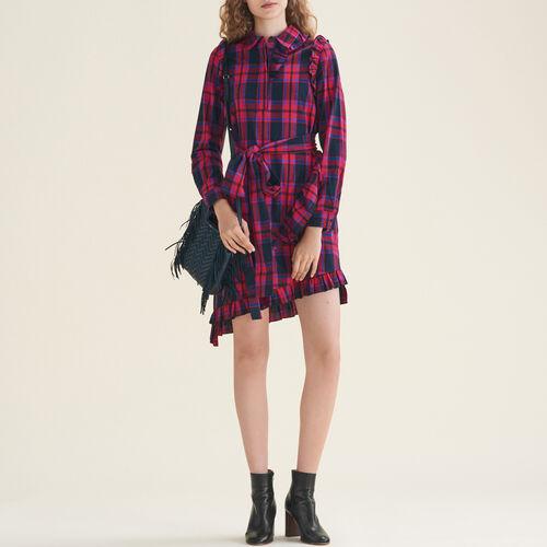 Kariertes Kleid mit Rüschen : Robes farbe Jacquard