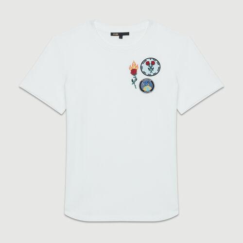 Baumwoll-T-Shirt mit Aufnäher : T-Shirts farbe Weiss