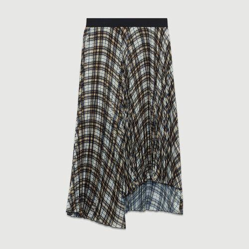 Asymmetrischer Plissee-Rock mit Karos : Röcke & Shorts farbe CARREAUX
