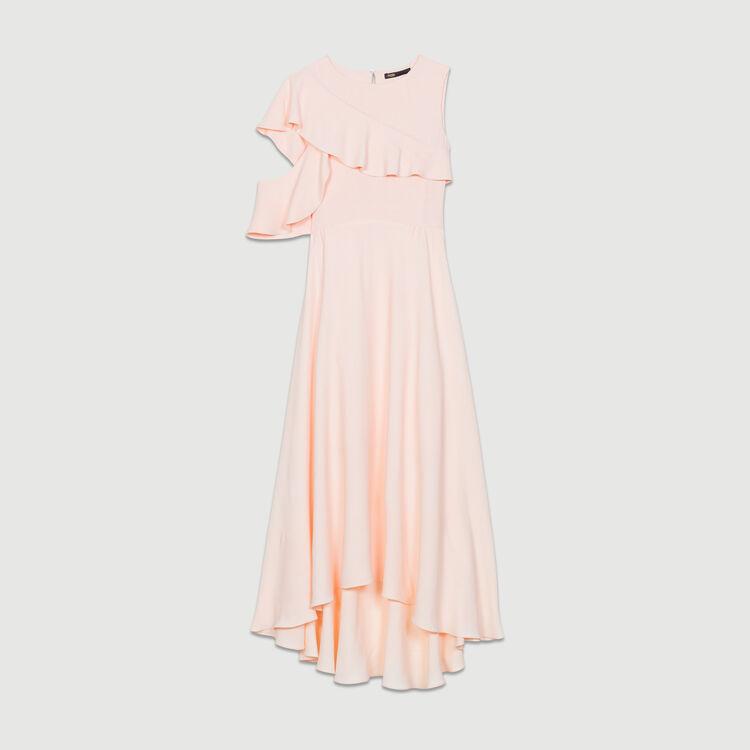 Langes asymmetrisches Krepp-Kleid : Neue Kollektion farbe PECHE