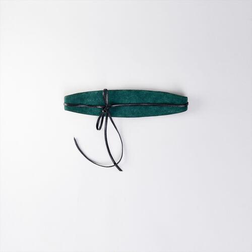 High-waisted suede belt : Gürtel farbe VERT