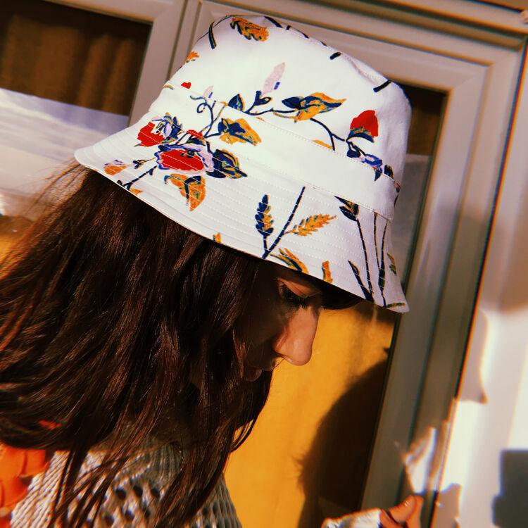 Hut aus Baumwolle mit buntem Print : Schals & Ponchos farbe Weiss