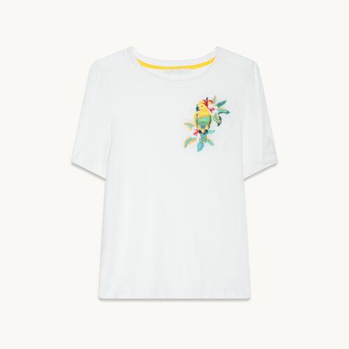 T-Shirt aus Leinen mit Stickerei - null - MAJE